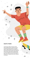 Skateboarding vertical banner. Colorful illustration of skater boy jumping. Skate park, shop, school advertising template with space for text. White background.