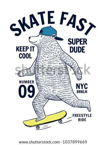 Skater bear vector illustration for t-shirt prints and other uses.