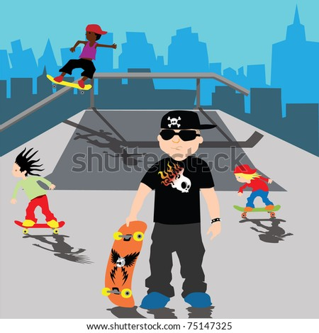 skater bully on skate park with kids playing over city background