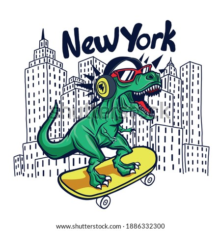 Skater dinosaur.New York skyline drawing. Dinosaur,skateboard vector print. Fun t-shirt design for kids.Cute Dinosaur character design.