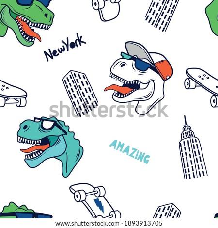 Skater dinosaurs seamless pattern.New York skyline drawing. Dinosaur,skateboard vector print. Fun t-shirt design for kids.Cute Dinosaur character design.