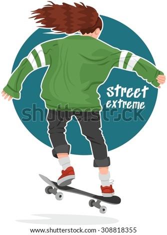 skater girl in hoodie back on a skateboard street extreme