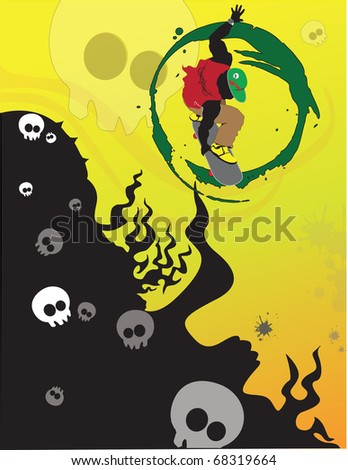 skater in midair design with  skulls and fire over halftone gradient background