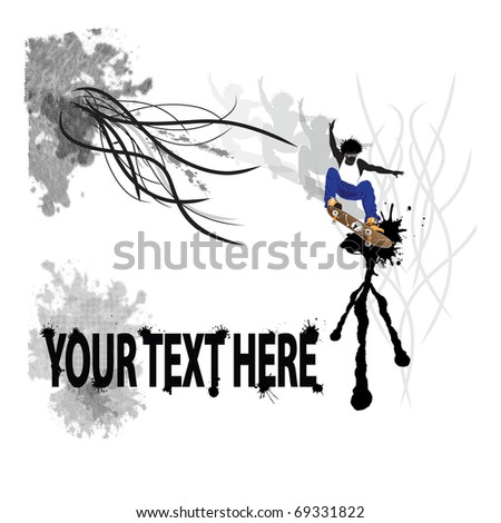 skater in midair with Afro over urban style eroded halftone