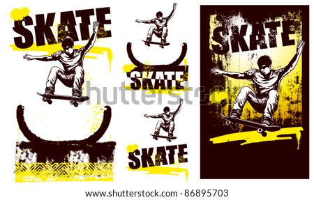 skater jumping with different