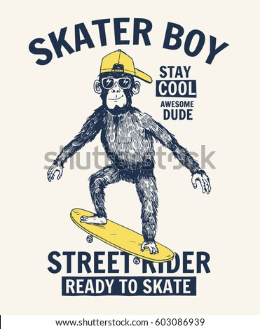 Skater Monkey illustration with cool slogan for t-shirt and other uses.