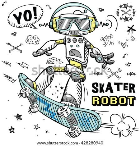 skater robot character design