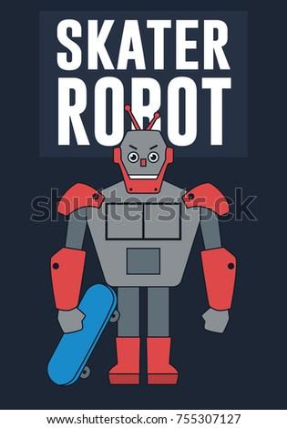 skater robot illustration for t