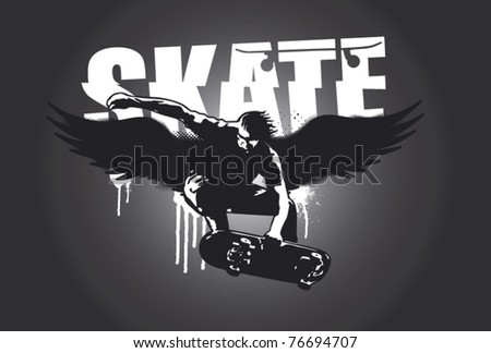 skater with wings and dark