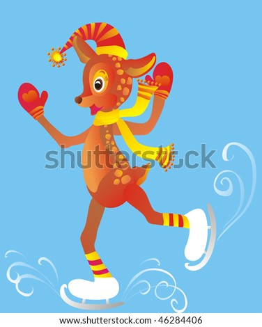 skating deer  vector