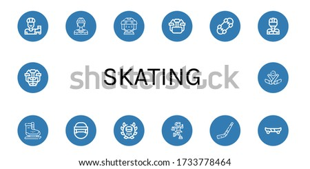 skating icon set. Collection of Roller skate, Hockey player, Hockey helmet, Skateboard, Ice skating, Hockey, Ice skate, stick, Skate board, Ice icons