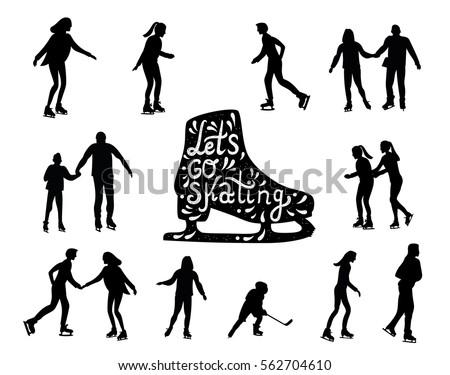 skating people silhouette