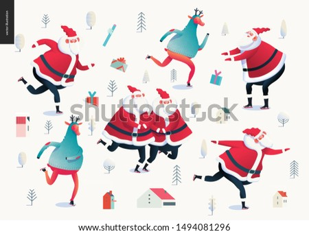 Skating Santa Clauses and Deers - Merry Christmas and New Year illustration - modern flat vector concept illustration of cheerful Santa Clauses, their deers wearing sweater skating on the rink