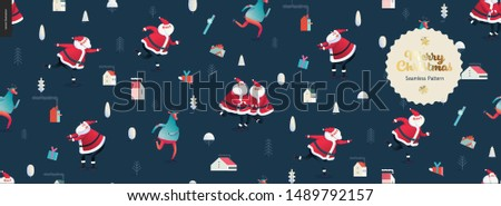 Skating Santa Clauses and Deers -Merry Christmas and New Year seamless pattern - modern flat vector concept illustration of cheerful Santa Clauses and deers wearing sweater, skating on the ice rink