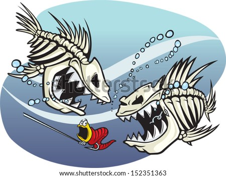 Skelefish A pair of wicked cartoon skeleton fish. Vector and high resolution jpeg files available.
