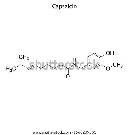 Skeletal formula of Capsaicin. Chemical molecule. Stock photo ©