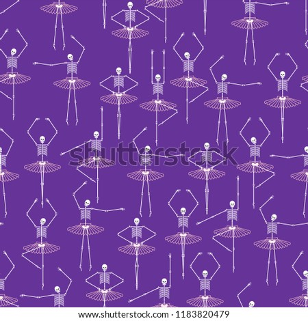 Stock Photo Skeleton ballerina pattern. Skull and bones ballet. Halloween background Vector illustration.
