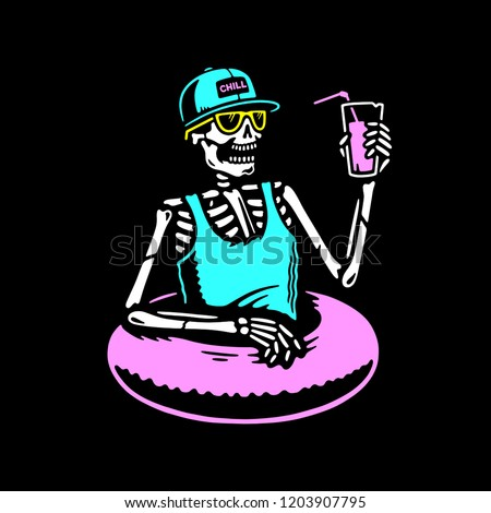 SKELETON CHILLING WITH COCKTAIL AND SWIM RING MULTICOLOR BLACK BACKGROUND