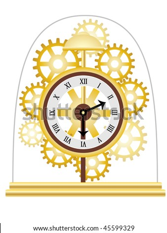 Skeleton Clock Golden Multiple Gears Vector Illustration