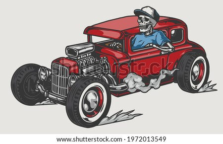 Skeleton driving red hot rod in vintage style isolated vector illustration