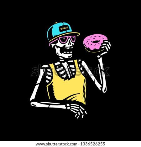 skeleton eating donut color