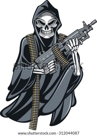 skeleton grim reaper holding