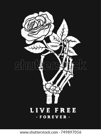 Skeleton hand holding a red rose. Vector illustration for t-shirt and other uses.