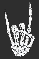 Skeleton hand making rock sign. Vintage illustration style.