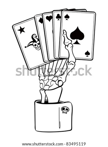 Skeleton Hand of Cards. - stock vector