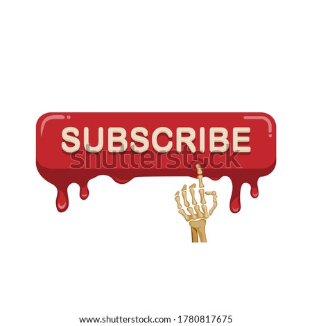 Skeleton hand touch and click subscribe button to online video streaming channel promotion symbol in cartoon illustration vector on white background