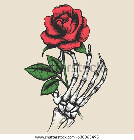 Skeleton hand with rose in tattoo style. Red rosebud in bony fingers vector illustration