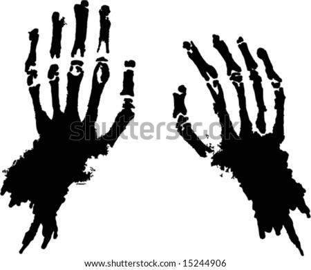 Skeleton hands vector silhouette stock vector