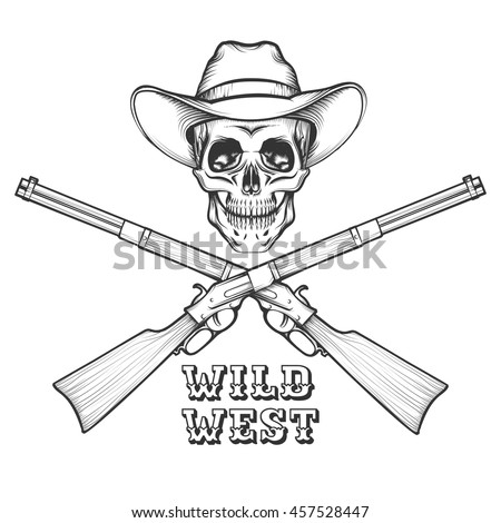 skeleton in a cowboy hat with