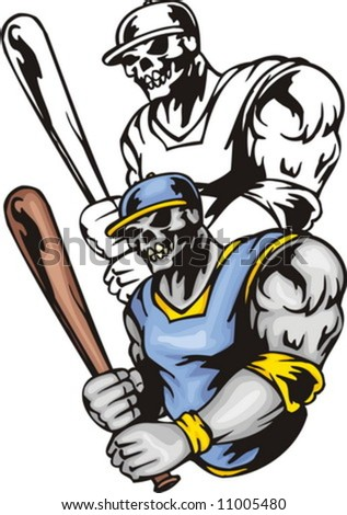 Skeleton in a sine-yellow uniform and with a bat in hands. Sport mascot animals. Vector illustration - color + b/w versions. - stock vector
