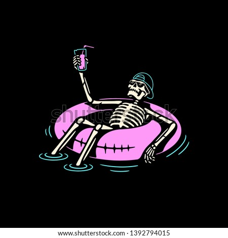 SKELETON IN CAP CHILLING WITH COCKTAIL AND SWIM RING COLOR BLACK BACKGROUND