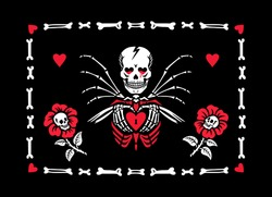 Skeleton in love and flowers with skulls in a frame of bones. A skeleton with wings holds a heart in its hands. Gothic style. Greeting card for Valentine's Day. Also great for Halloween.