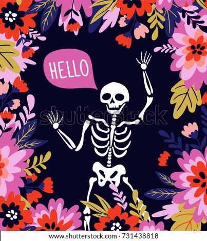 skeleton in the floral frame