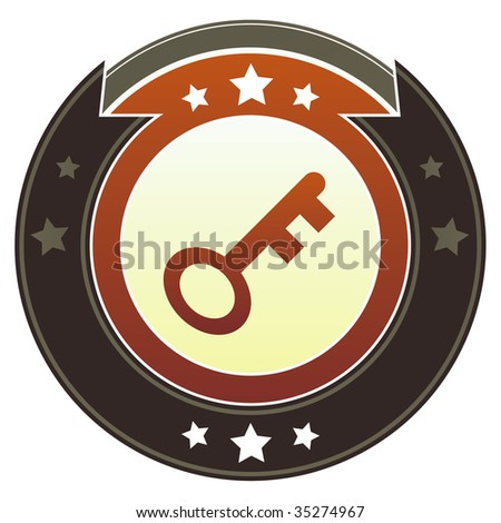 Skeleton key or password icon on round red and brown imperial vector button with star accents suitable for use on website, in print and promotional materials, and for advertising.
