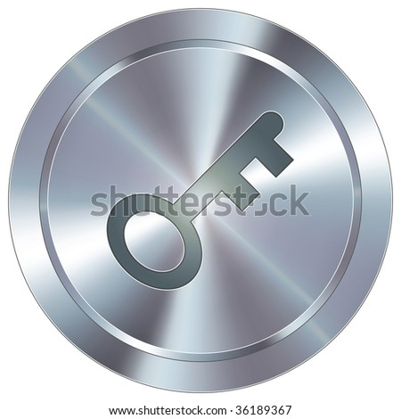 Skeleton key or password icon on round stainless steel modern industrial button