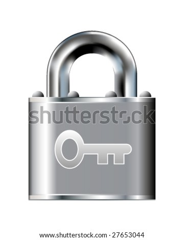 Skeleton key or password icon on stainless steel padlock vector button
