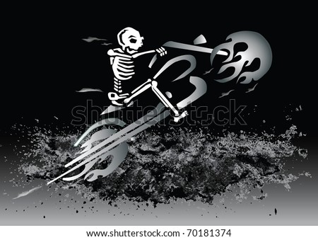 skeleton on flaming motorcycle