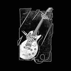 Skeleton playing guitar graphic illustration vector art t-shirt design