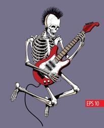 Skeleton punk rock guitar player jumps. Vector illustration.