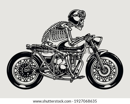 Skeleton racer riding brat style motorcycle in vintage monochrome style isolated vector illustration