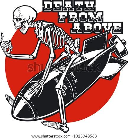 skeleton riding on air bomb