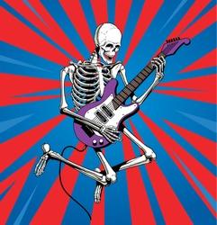 Skeleton rock guitar player jumps. Vector illustration.