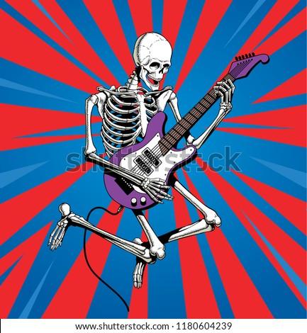 skeleton rock guitar player