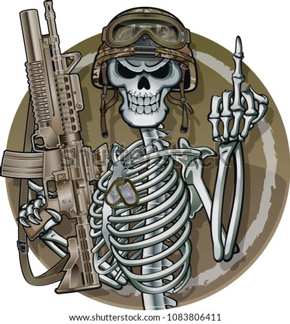 Skeleton shows middle finger wearing military helmet and holding assault rifle  shows middle finger