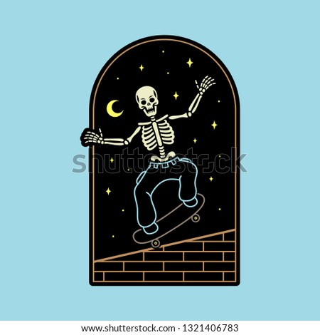 skeleton skateboarder badge