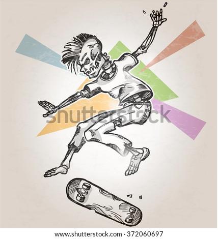 skeleton skater  on abstract